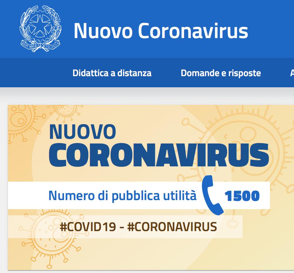 Nuovo Coronavirus – la pagina del Ministero dell'Istruzione